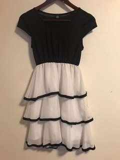 Black and White Waterfall Dress