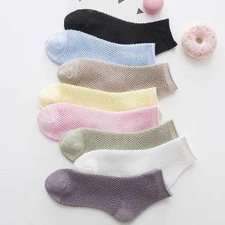 🎉5折現貨出清🎉 0.13area 夏日繽紛中筒網襪-黃、粉、藍