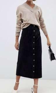🚚 ASOS DESIGN 復古絨布長窄裙-UK6  似Dresseum 淡淡的麂香