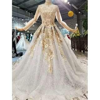 Gown Collection - Noble Embroidered High Round Neck Long Sleeves Golden Gown