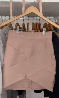 pink nude wrap skirt