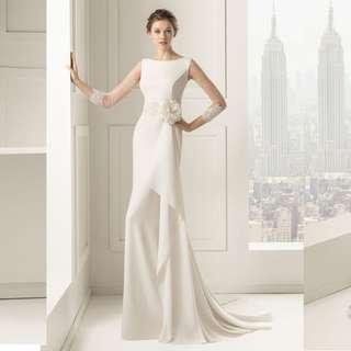 Wedding Gown - Long Lace Sleeves White Flower Smooth Long Wedding Gown