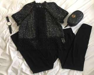 ZARA TWEED mix lace top