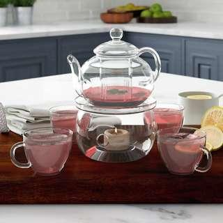 Glass teapot set with warmer and infuser