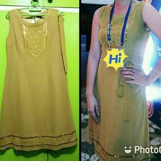 Mustard yellow gold dress