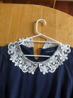 Princess Highway Navy Dress with Lace neckline