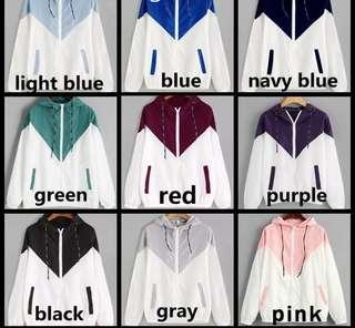 Ulzzang two tone windbreaker hoodie pink blue grey