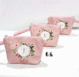 Cosmetic Pouch Custom Name Initial
