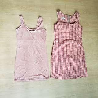 Pink polka dot and Sportsgirl Checkered Shift dress