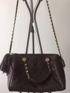 Vintage Bruno Magli Quilted Leather (soft lambskin) , chain strap.., gold hardware