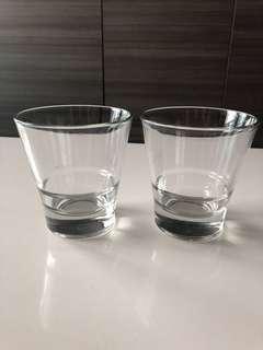 玻璃酒/水杯一對(底部玻璃特厚,不易翻掉)