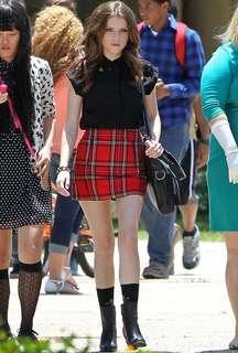 Pull & Bear red tartan skirt