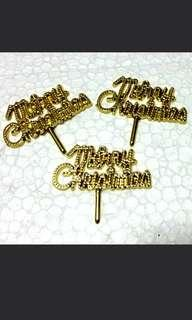 Golden Gold Merry Christmas X'mas Decoration Decor on cakes, pies, muffins, 3 for $2, 1 for $1 for S$1!