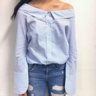 /LIM Tem Blue And White Striped Collared Off Shoulder Top