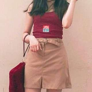 Brown Wool Skirt With Ring Belt