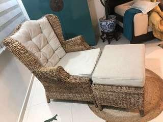 Clearing wicker sofa + footrest