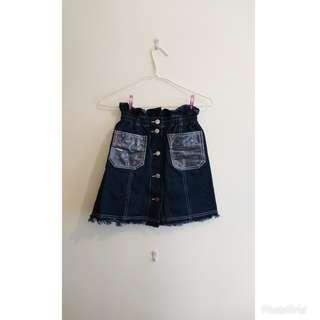 韓國製束腰牛仔裙