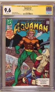 Aquaman #1 CGC 9.6 SS (1991 2nd Series) DCU Aquaman Hot Movie 2018, Signed By Cover Artist Kevin Maguire! Aquaman's 50th Anniversary!! Super Retro Collectible!