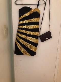 Black and gold club dress