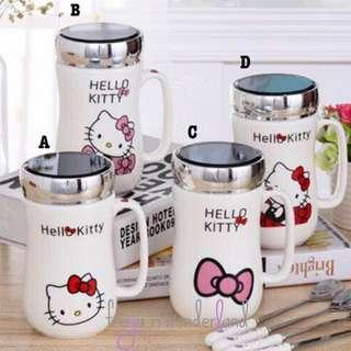 🚚 4 Designs! Hello Kitty Ceramic Mug Cartoon Eco Cups with Cup Lid Mugs Set Creative Drinking