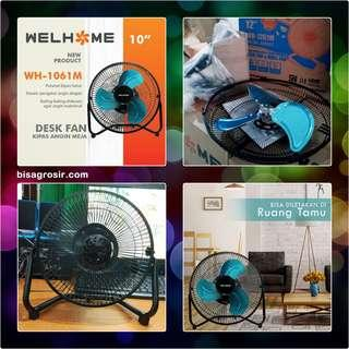 Desk Fan Kipas Angin Meja Metal Stainless 10 Inch WH-1061M