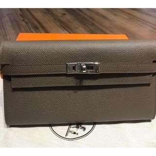 Hermes Kelly Wallet Epsom Leather in Etain with PHW
