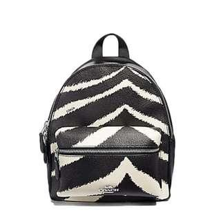 COACH Mini Charlie Backpack With Zebra Print F39033