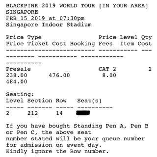WTS Section 212 SECOND ROW Blackpink In Your Area World Tour Singapore