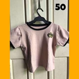 Pastel Pink Crop Top with Crown Patch