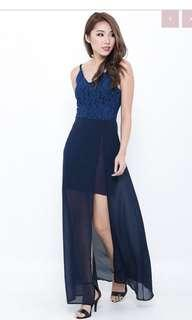 topaz liz maxi dress in navy