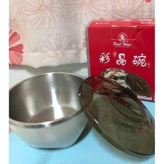 🚚 《全新品》不銹鋼彩晶碗 料理碗 保鮮碗 (附碗蓋)