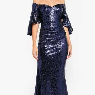 (For Rent) Off-shoulder blue sequin gown