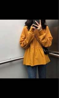 韓版長袖短版上衣