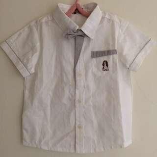 諾貝達 男童正式短袖白襯衫 110公分