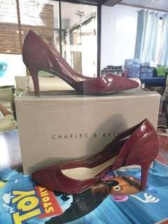 Charles & Keith Burgundy Pumps