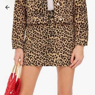 Topshop Petite Leopard Denim Skirt