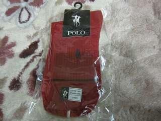 🚚 POLO紅色棉質彈性纖維襪