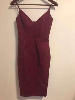 Maroon Triangle Bodycon Dress