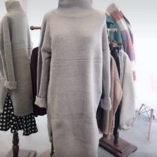 正韓 高領毛衣洋裝