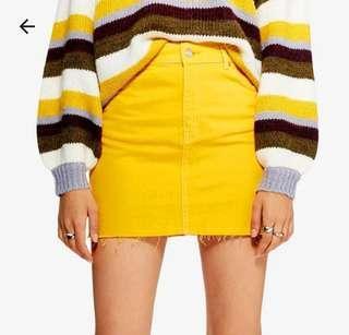 Topshop Yellow Denim Mini Skirt