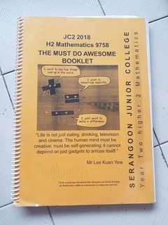 H2 Math 2018 booklet