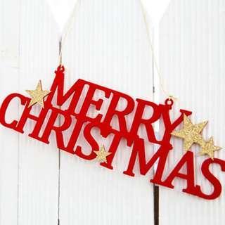 *funibox*紅色聖誕快樂毛氈字母掛飾/聖誕樹裝飾/聖誕party聚會店鋪櫥窗diy裝飾佈置