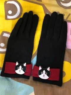🚚 貓咪 黑色 紅色 手套