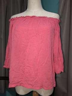 Pink glassons off the shoulder top