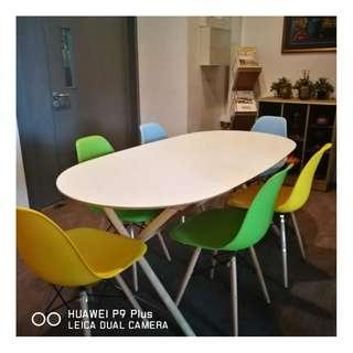 Oval Table Set with Colourful Chair