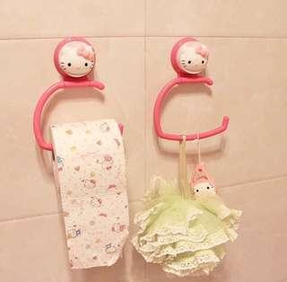 Hello Kitty Tissue Roll Holder Towel Hanger Wall Suction