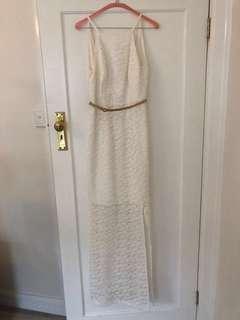 Seduce White Maxi Lace Dress with Belt Size 10