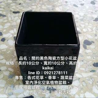簡約黑色陶瓷方型小花盆,特價250元