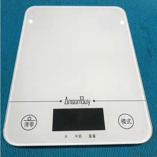 鋼化玻璃 1g/5kg 螢幕電子秤 廚房秤 平板玻璃廚房秤 家用烘焙 玻璃 電子秤