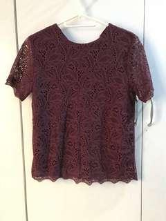 Lace Top (Burgundy)